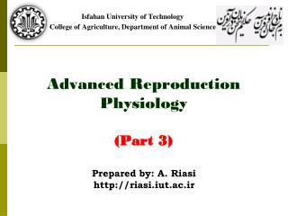 Advanced Reproduction Physiology (Part 3)