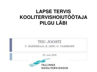 TIIU JOOSTI V. HAZINSKAJA, K. LEPP, O. VAARMANN 29. mai 2008