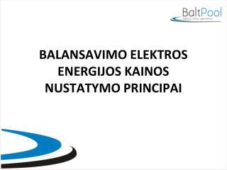 BALANSAVIMO ELEKTROS ENERGIJOS KAINOS NUSTATYMO PRINCIPAI
