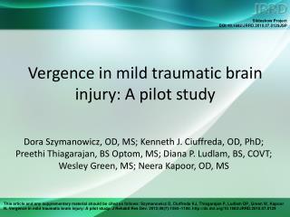 Vergence in mild traumatic brain injury: A pilot study