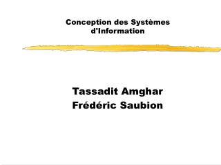 Conception des Syst�mes d'Information