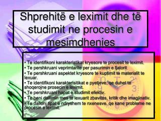 Shprehitë e leximit dhe të studimit ne procesin e mesimdhenies