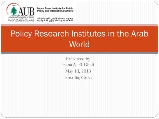 Policy Research Institutes in the Arab World