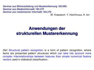 Seminar aus Bildverarbeitung und Mustererkennung 183.065, Seminar aus Medieninformatik 183.275