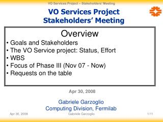 VO Services Project Stakeholders� Meeting