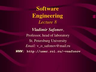 Software Engineering Lecture 8