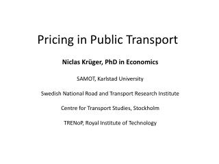 Pricing in Public Transport