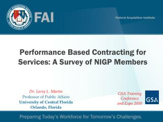 Performance Based Contracting for Services: A Survey of NIGP Members