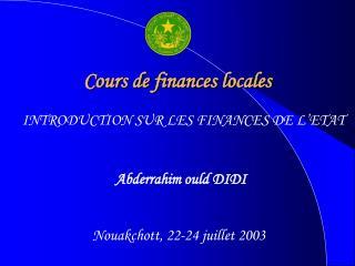 Cours de finances locales