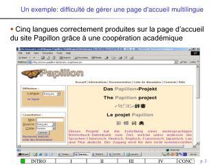 Un exemple: difficulté de gérer une page d'accueil  multilingue