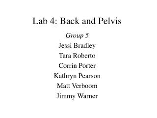 Lab 4: Back and Pelvis