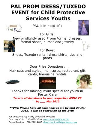 PAL PROM DRESS/TUXEDO EVENT for Child Protective Services Youths