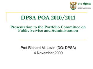 DPSA POA 2010/2011 Presentation to the Portfolio Committee on Public Service and Administration
