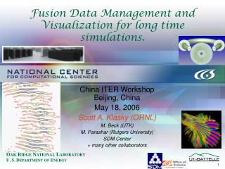 Fusion Data Management and Visualization for long time simulations.