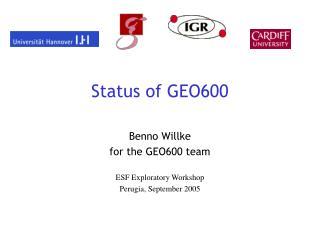 Status of GEO600