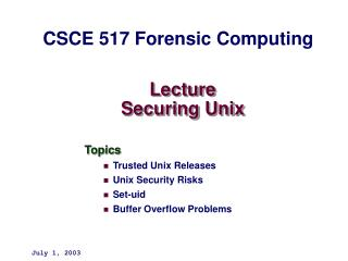 Lecture  Securing Unix