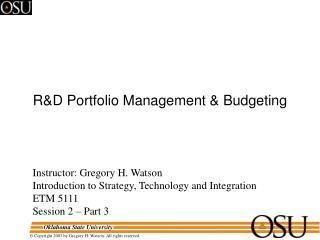R&D Portfolio Management & Budgeting