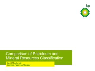 Comparison of Petroleum and Mineral Resources Classification