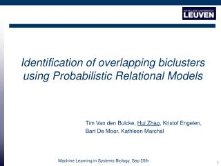 Identification of overlapping biclusters  using Probabilistic Relational Models