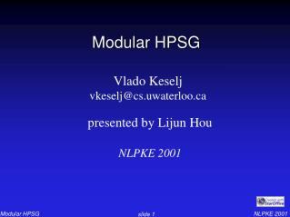 Modular HPSG