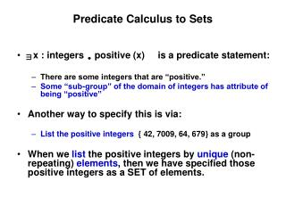 Predicate Calculus to Sets