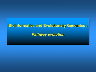 Bioinformatics and Evolutionary Genomics : Pathway evolution
