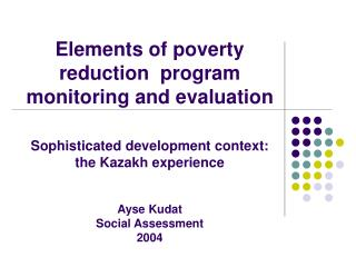 Elements of poverty reduction  program monitoring and evaluation