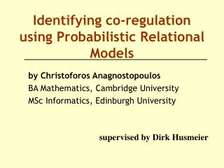 Identifying co-regulation using Probabilistic Relational Models