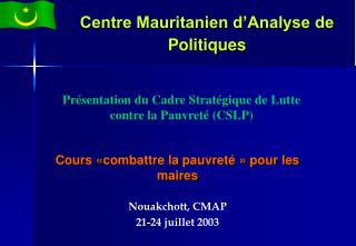 Centre Mauritanien d'Analyse de Politiques
