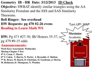 Geometry  IB - HR  Date: 3/12/2013    ID Check