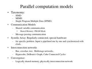 Parallel computation models
