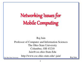 Networking Issues for  Mobile Computing
