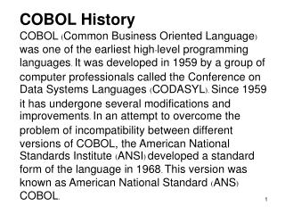 COBOL History