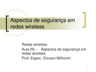 Aspectos de seguran�a em redes wireless