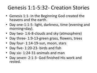 Genesis 1:1-5:32- Creation Stories