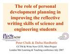 The role of personal development planning in improving the reflective writing skills of science and engineering students