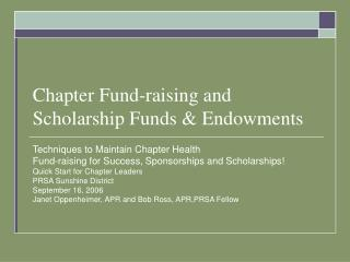 Chapter Fund-raising and Scholarship Funds & Endowments