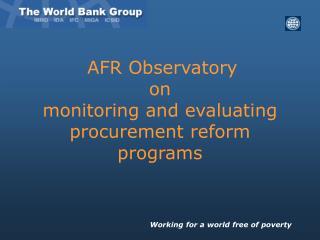 AFR Observatory  on  monitoring and evaluating procurement reform programs