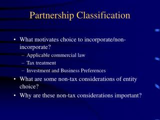 Partnership Classification
