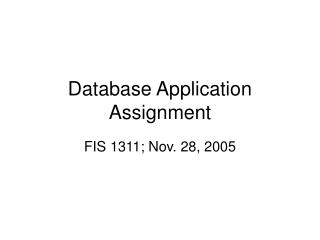 Database Application Assignment