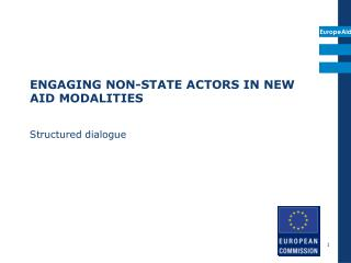 ENGAGING NON-STATE ACTORS IN NEW  AID MODALITIES