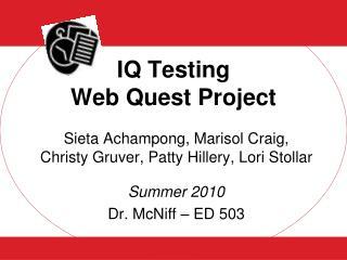 IQ Testing  Web Quest Project