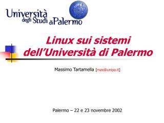 Linux sui sistemi dell'Università di Palermo