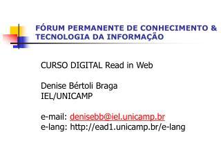 FÓRUM PERMANENTE DE CONHECIMENTO & TECNOLOGIA DA INFORMAÇÃO
