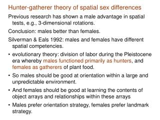 Hunter-gatherer theory of spatial sex differences