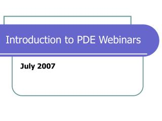 Introduction to PDE Webinars
