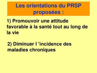 Les orientations du PRSP proposées :