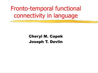 Fronto-temporal functional connectivity in language