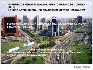 INSTITUTO DE PESQUISA E PLANEJAMENTO URBANO DE CURITIBA – IPPUC