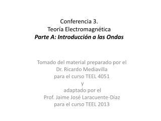 Conferencia 3.  Teoría Electromagnética Parte A: Introducción a las Ondas